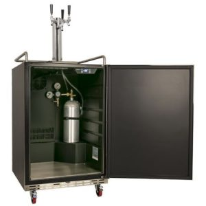 EdgeStar Full Size Triple Tap Built-In Kegerator - Black and Stainless Steel
