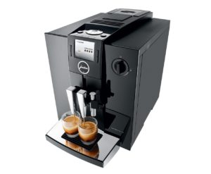 Jura coffee machine. Grinds, brews, foams, delicious.